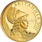 UK 200 Pounds (Britannia - Premium Exclusive) BRITANNIA 2021 2 OZ 999.9 FINE GOLD PJL coin reverse