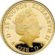 UK 25 Pounds (Britannia and the Lion) ELIZABETH II D G REG F D 25 POUNDS JC coin obverse