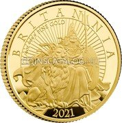 UK 25 Pounds (Britannia and the Lion) 1/4 OZ 999.9 FINE GOLD BRITANNIA 2021 PJL coin reverse