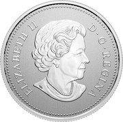 Canada 5 Dollars (25th Anniversary of Canada's Arboreal Emblem) ELIZABETH II D G REGINA coin obverse