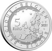 Belgium 5 Euro 75 Anniversary of Blake and Mortimer. Colored 2021 ☤ 5 EURO BELGIE BELGIQUE BELGIEN 2021 LL coin obverse