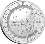 Belgium 5 Euro (75 Anniversary of Blake and Mortimer. Colored) 5 EURO BELGIE BELGIQUE BELGIEN 2021 LL coin obverse