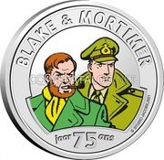 Belgium 5 Euro (75 Anniversary of Blake and Mortimer. Colored) STUDIO JACOBS. 2021 BLAKE & MORTIMER JAAR 75 ANS coin reverse