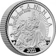 UK 5 Pence Britannia and the Lion 2021 Six-coin Proof set BRITANNIA 2021 1/40 OZ 999 FINE SILVER PJL 2021 coin reverse