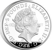 UK 5 Pounds (Alfred the Great. Piedfort) ELIZABETH II D G REG FID DEF 5 POUNDS coin obverse