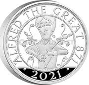 UK 5 Pounds (Alfred the Great. Piedfort) ALFRED THE GREAT 871 2021 coin reverse