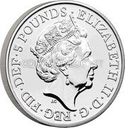 UK 5 Pounds (Alfred the Great) ELIZABETH II D G REG FID DEF 5 POUNDS coin obverse