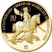 Malta 50 Euro Albrecht Dürer 550 Years 2021 Proof 550TH ANNIVERSARY BIRTH OF ALBRECHT DÜRER 1471-1528 50 EURO coin reverse