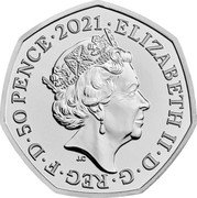 UK 50 Pence (Team of Great Britain at the 2021 Olympics (Colored)) ELIZABETH II D G REG F D 50 PENCE 2021 JC coin obverse