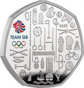 UK 50 Pence (Team of Great Britain at the 2021 Olympics (Colored)) 2020 DK TEAM GB coin reverse