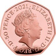 UK 50 Pence (Team of Great Britain at the 2021 Olympics) ELIZABETH II D G REG F D 50 PENCE 2021 JC coin obverse