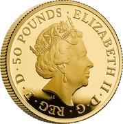 UK 50 Pounds Britannia and the Lion 2021 ELIZABETH II D G REG F D 50 POUNDS coin obverse