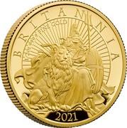 UK 50 Pounds Britannia and the Lion 2021 BRITANNIA 2021 1/2 OZ 999.9 FINE GOLD coin reverse