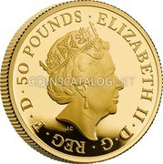 UK 50 Pounds (Britannia and the Lion) ELIZABETH II D G REG F D 50 POUNDS coin obverse