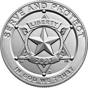 USA Half Dollar (Serve and Protect) SERVE AND PROTECT LIBERTY 2021 RS JPM D IN GOD WE TRUST coin obverse