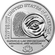 USA Half Dollar (Serve and Protect) UNITED STATES OF AMERICA E PLURIBUS UNUM HALF DOLLAR NATIONAL LAW ENFORCEMENT MEMORIAL AND MUSEUM HW RG coin reverse