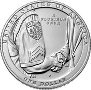 USA One Dollar (Serve and Protect) UNITED STATES OF AMERICA E PLURIBUS UNUM POLICE JPM RS P ONE DOLLAR coin reverse