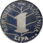 Slovenia 1 Lipa France Preseren 1990 Proof X# Tn2 REPUBLIKA SLOVENIJA 1 LIPA 1990 coin obverse