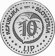 Slovenia 10 Lip (Ivan Cankar) X# Tn10 REPUBLIKA SLOVENIJA 1991 10 LIP coin obverse