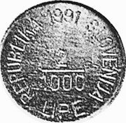 Slovenia 2/1000 Lipe X# Tn4 Standart Coinage REPUBLIKA SLOVENIJA 2/1000 LIPE 1990 coin obverse