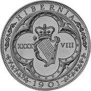 Ireland 48 Pence (Victoria) X# 12.1 HIBERNIA 1901 XXXX VIII coin reverse