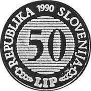 Slovenia 50 Lip France Preseren 1990 Proof X# Tn3 REPUBLIKA SLOVENIJA 50 LIP 1990 coin obverse