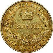 Australia Half Sovereign Victoria- pattern 1856 KM# Pn5 AUSTRALIA SYDNEY MINT HALF SOVEREIGN coin reverse