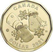 Canada 1 Dollar (Holiday Gift Arms in mittens) ELIZABETH II D G REGINA 2021 coin obverse