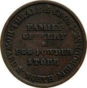 Australia 1/2 Penny 1851 KM# Tn254 Private Token issues THRALE & CROSS HOWARD S' NORTH MELBOURNE FAMILY-GROCERY & EGG POWDER STORE coin obverse