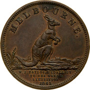 Australia 1/2 Penny 1851 KM# Tn243 Private Token issues MELBOURNE W. J. TAYLOR, MEDALLIST TO THE GREAT EXIBITION 1851 coin obverse
