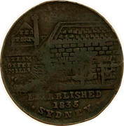 Australia 1/2 Penny 1852 KM# Tn191.2 Private Token issues ESTABLISHED 1835 SYDNEY coin obverse