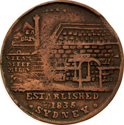 Australia 1/2 Penny 1852 KM# Tn191.3 Private Token issues ESTABLISHED 1835 SYDNEY coin obverse