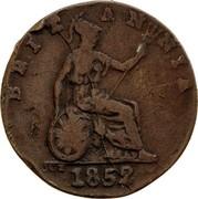 Australia 1/2 Penny 1852 KM# Tn191.1 Private Token issues BRITANNIA 1852 JCT coin reverse
