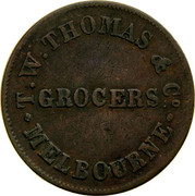 Australia 1/2 Penny 1854 KM# Tn248 Private Token issues T. W. THOMAS & CO. GROCERS MELBOURNE coin obverse