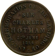 Australia 1/2 Penny 1854 KM# Tn248 Private Token issues IN COMMEMORATION OF THE LANDING OF SIR CHARLES HOTHAM 22D JUNE 1854 coin reverse