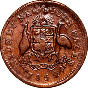 Australia 1/2 Penny 1854 KM# Tn249.2 Private Token issues SYDNEY NEW SOUTH WALES coin reverse