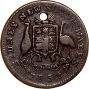 Australia 1/2 Penny 1854 KM# Tn249.1 Private Token issues SYDNEY NEW SOUTH WALES coin reverse