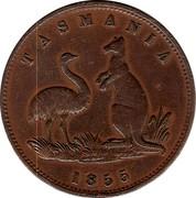 Australia 1/2 Penny 1855 KM# Tn6 Private Token issues TASMANIA coin obverse