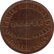 Australia 1/2 Penny 1855 KM# Tn6 Private Token issues LEWIS ABRAHAMS DRAPER LIVERPOOL STREET HOBART TOWN coin reverse