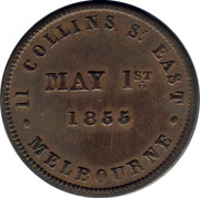 Australia 1/2 Penny 1855 KM# Tn8.2 Private Token issues 11 COLLINS ST. EAST MELBOURNE MAY 1ST 1855 coin reverse