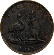 Australia 1/2 Penny 1855 KM# Tn269 Private Token issues TASMANIA coin reverse