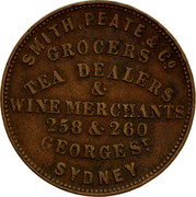Australia 1/2 Penny 1856 KM# Tn210 Private Token issues SMITH, PEATE & CO. GROCERS TEA DEALERS WINE MERCHANTS 258 & 260 GEORGE ST. SYDNEY coin obverse