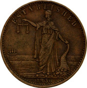 Australia 1/2 Penny 1856 KM# Tn210 Private Token issues ESTABLISHED 1856 coin reverse
