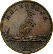 Australia 1/2 Penny 1857 KM# Tn245 Private Token issues MELBOURNE. W.J. TAYLIE, MEDALLIST TO THE GREAT EXHIBITION 1851 coin obverse
