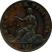 Australia 1/2 Penny 1857 KM# Tn103 Private Token issues MELBOURNE VICTORIA coin obverse