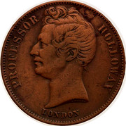 Australia 1/2 Penny 1857 KM# Tn277.2 Foreign Token issues PROFESSOR HOLLOWAY LONDON coin obverse