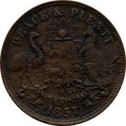 Australia 1/2 Penny 1857 KM# Tn83.1 Private Token issues PEACE & PLENTY coin reverse