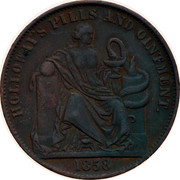 Australia 1/2 Penny 1857 KM# Tn277.2 Foreign Token issues HOLLOWAY'S PILLS AND OINTMENT coin reverse