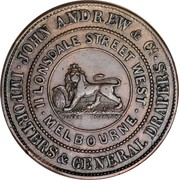 Australia 1/2 Penny 1860 KM# TnA11 Private Token issues JOHN ANDREW & CO IMPORTERS & GENERAL DRAPERS II LONSDALE STREET WEST MELBOURNE coin obverse