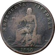Australia 1/2 Penny 1860 KM# Tn12 Private Token issues MELBOURNE VICTORIA 1860 coin obverse